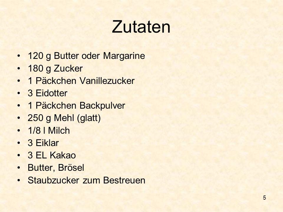 5 Zutaten 120 g Butter oder Margarine 180 g Zucker 1 Päckchen Vanillezucker 3 Eidotter 1 Päckchen Backpulver 250 g Mehl (glatt) 1/8 l Milch 3 Eiklar 3