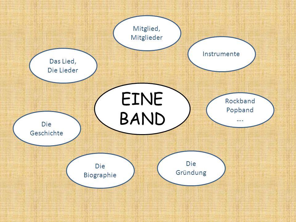 EINE BAND Instrumente Mitglied, Mitglieder Das Lied, Die Lieder Die Geschichte Die Biographie Die Gründung Rockband Popband ….