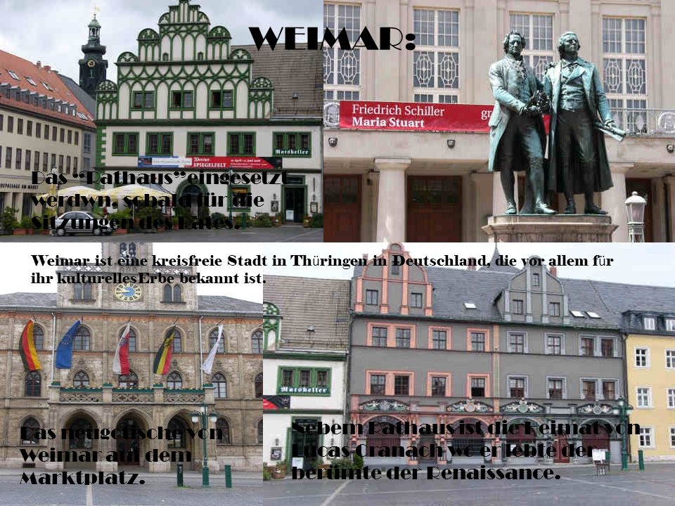 Das neugotische von Weimar auf dem Marktplatz.