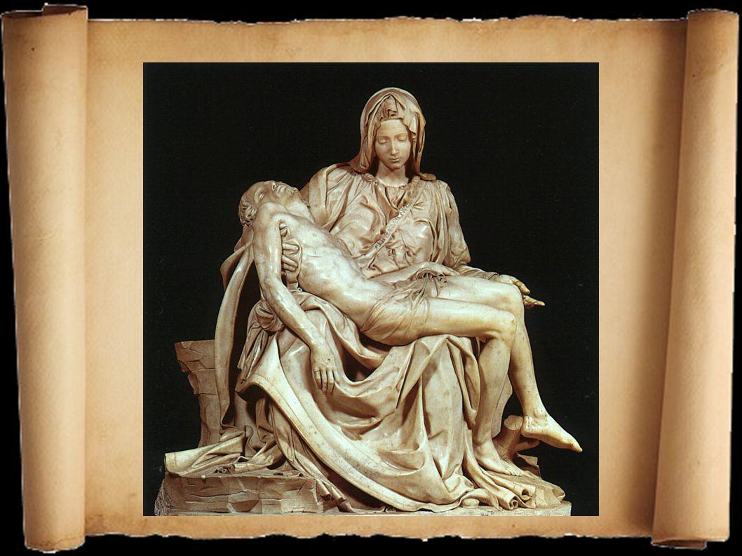 Die pyramidenförmige Skulptur zeigt Maria, die ihren toten Sohn in den Armen hält.
