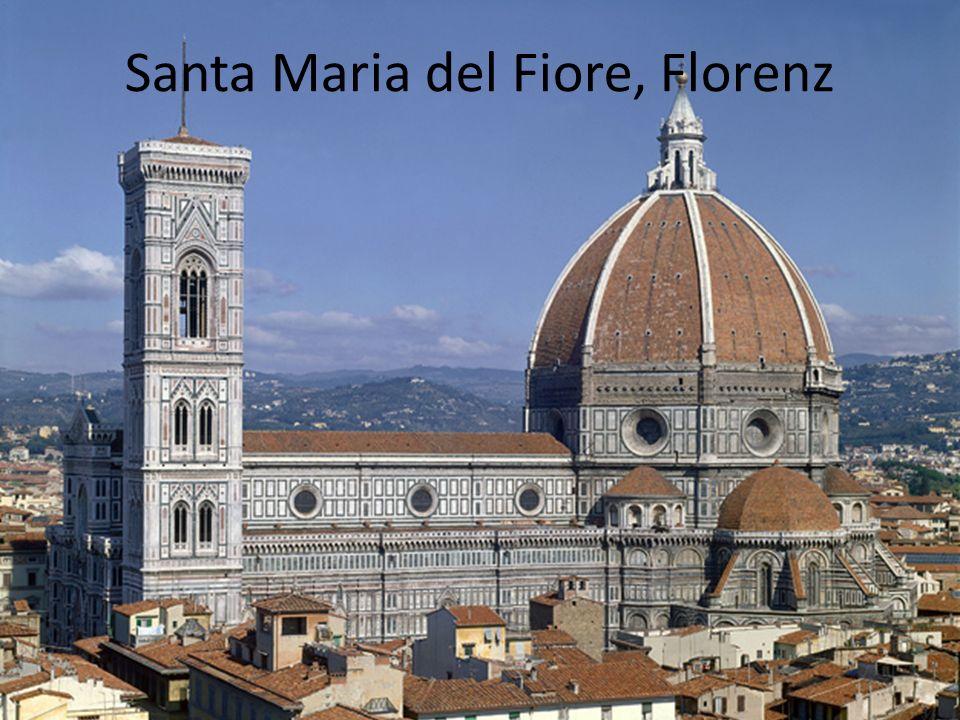 Glockenturm Von Giotto begonnen 1359 von Andrea Pisano und Francesco Talenti fertiggestellt 85 Meter hoch 12 Glocken Fassade (Skulpturen in Nischen) z.B.