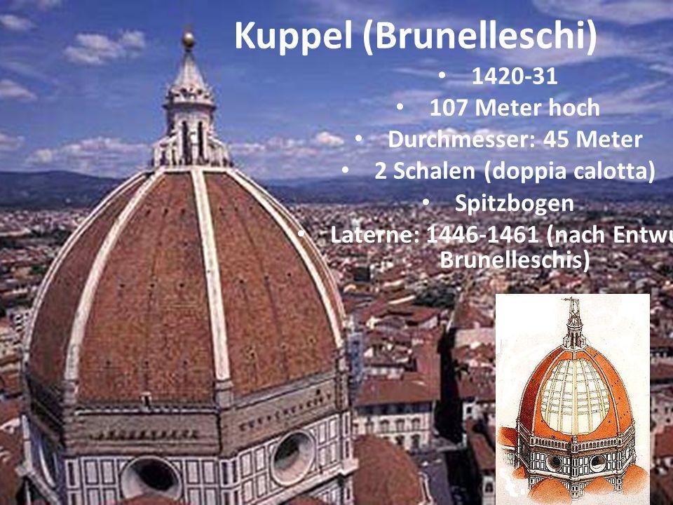 1420-31 107 Meter hoch Durchmesser: 45 Meter 2 Schalen (doppia calotta) Spitzbogen Laterne: 1446-1461 (nach Entwurf Brunelleschis) Kuppel (Brunellesch