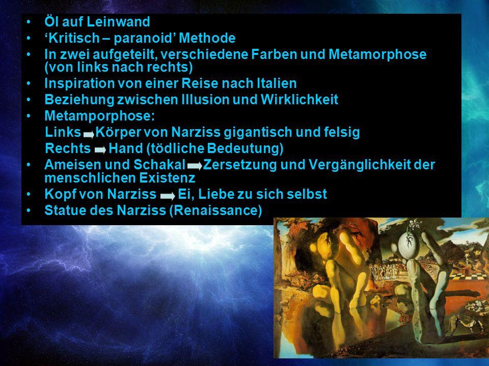 Öl auf Leinwand Kritisch – paranoid Methode In zwei aufgeteilt, verschiedene Farben und Metamorphose (von links nach rechts) Inspiration von einer Rei