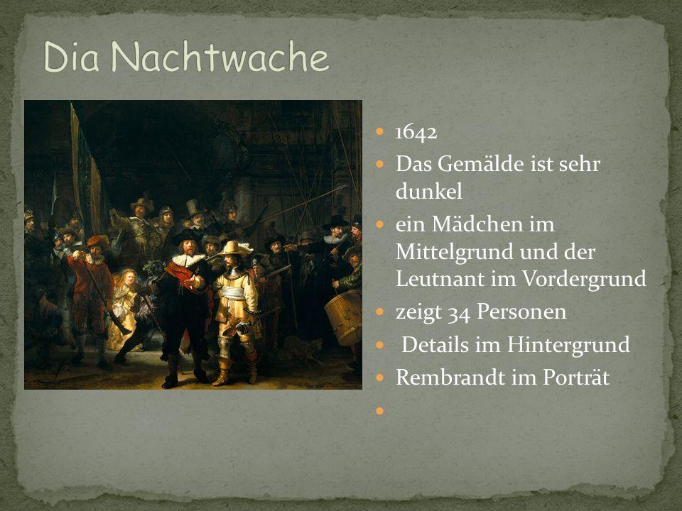 1642 Das Gemälde ist sehr dunkel ein Mädchen im Mittelgrund und der Leutnant im Vordergrund zeigt 34 Personen Details im Hintergrund Rembrandt im Port