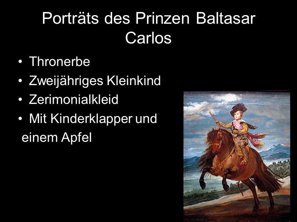 Porträts des Prinzen Baltasar Carlos Thronerbe Zweijähriges Kleinkind Zerimonialkleid Mit Kinderklapper und einem Apfel