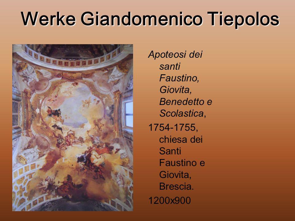 Werke Giandomenico Tiepolos Apoteosi dei santi Faustino, Giovita, Benedetto e Scolastica, 1754-1755, chiesa dei Santi Faustino e Giovita, Brescia.