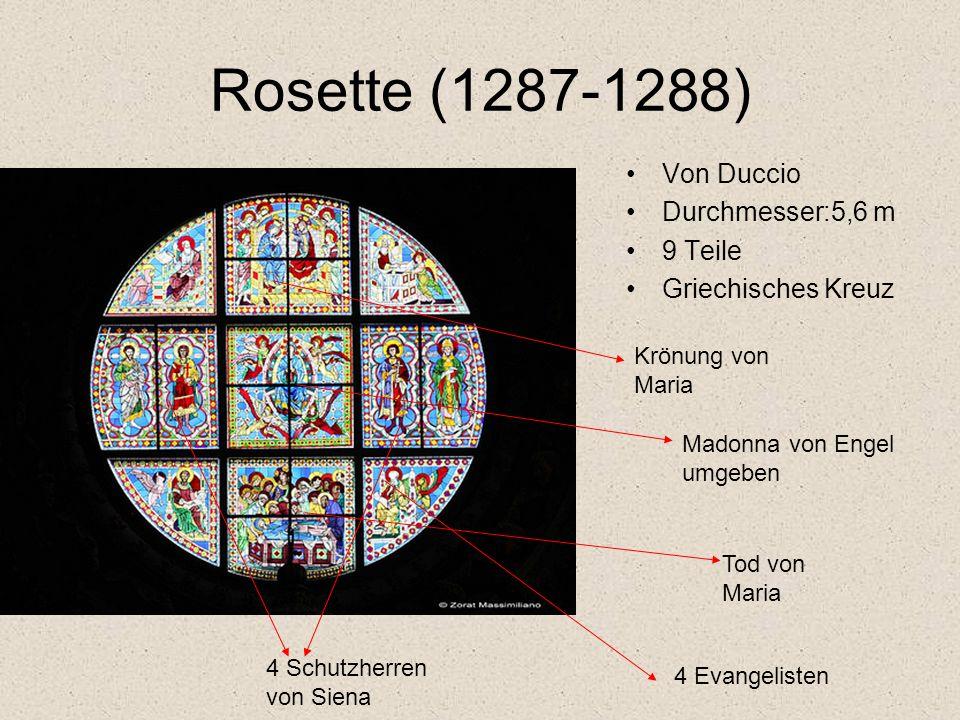 Rosette (1287-1288) Von Duccio Durchmesser:5,6 m 9 Teile Griechisches Kreuz Madonna von Engel umgeben 4 Schutzherren von Siena 4 Evangelisten Tod von Maria Krönung von Maria