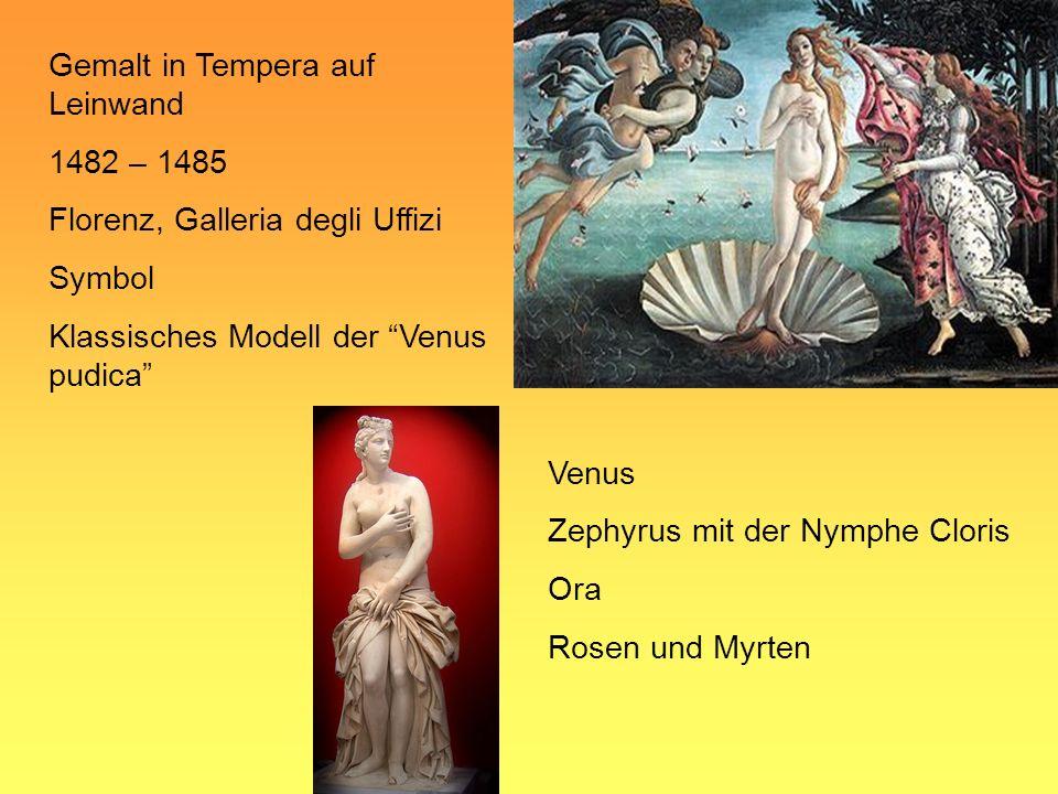 Gemalt in Tempera auf Leinwand 1482 – 1485 Florenz, Galleria degli Uffizi Symbol Klassisches Modell der Venus pudica Venus Zephyrus mit der Nymphe Clo
