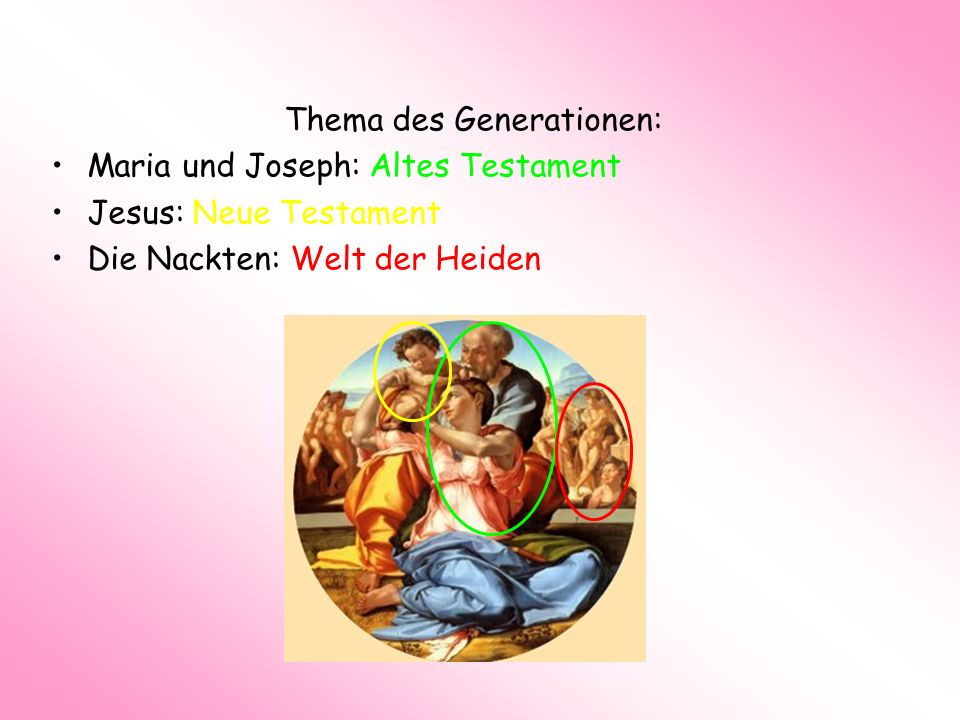 Thema des Generationen: Maria und Joseph: Altes Testament Jesus: Neue Testament Die Nackten: Welt der Heiden