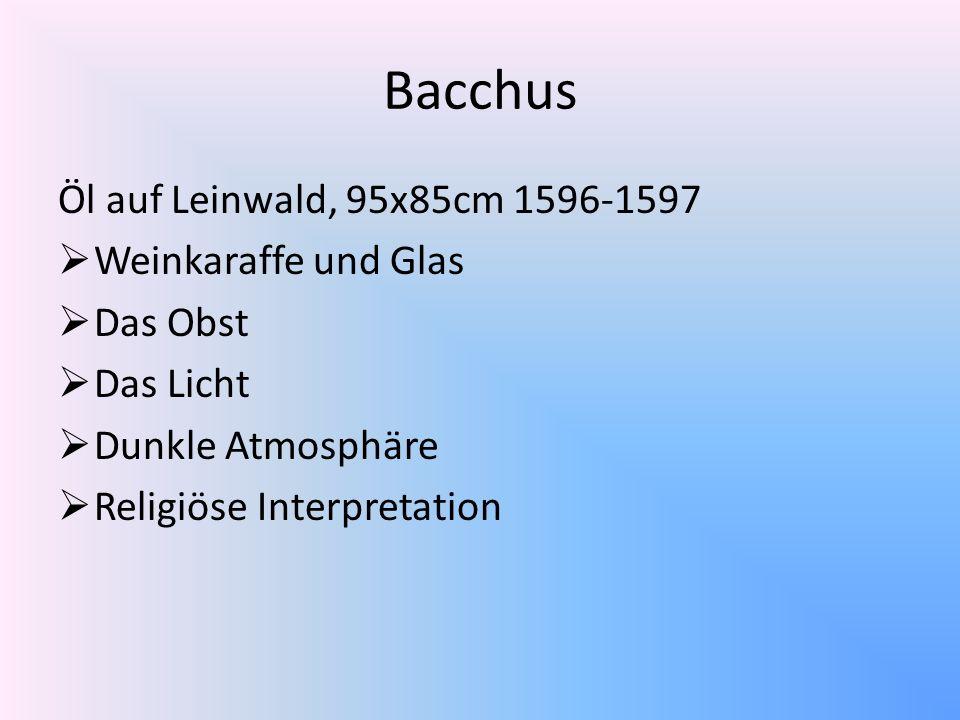 Öl auf Leinwald, 95x85cm 1596-1597 Weinkaraffe und Glas Das Obst Das Licht Dunkle Atmosphäre Religiöse Interpretation