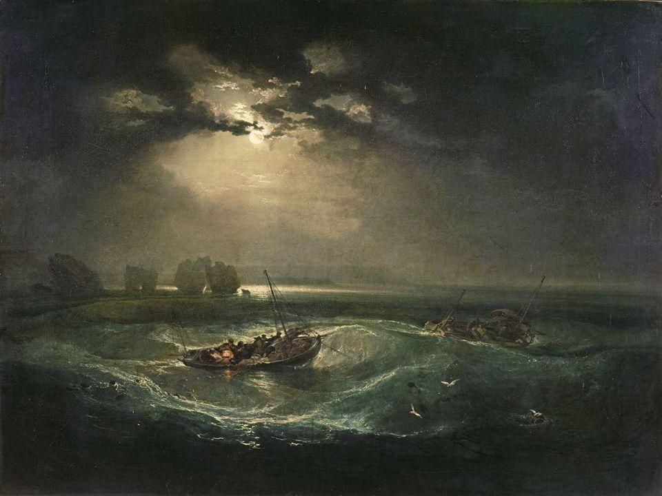 »Fischer auf See« 1796 erstes Ölgemälde Es zeichnet den Kontrast zwischen dem turbulenten Wasser des Solvent und dem ruhigeren Wasser des Englischen Canales Mondlicht-Szenen von Joseph Wright of Derby (ein englischer Schrifsteller)