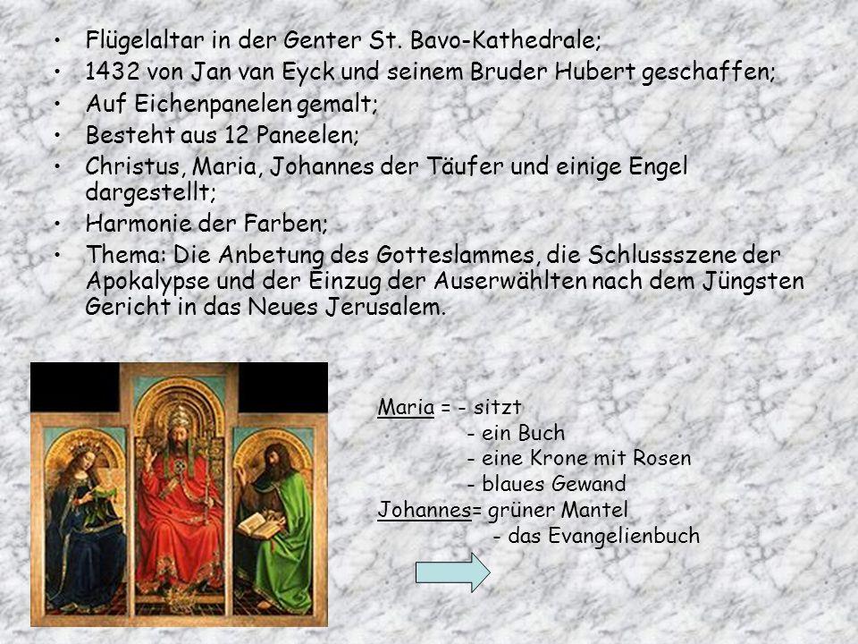 Flügelaltar in der Genter St. Bavo-Kathedrale; 1432 von Jan van Eyck und seinem Bruder Hubert geschaffen; Auf Eichenpanelen gemalt; Besteht aus 12 Pan