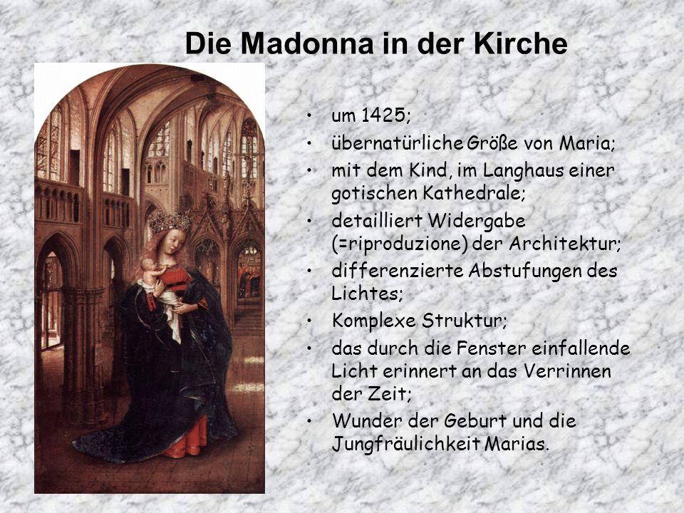 Die Madonna in der Kirche um 1425; übernatürliche Größe von Maria; mit dem Kind, im Langhaus einer gotischen Kathedrale; detailliert Widergabe (=ripro