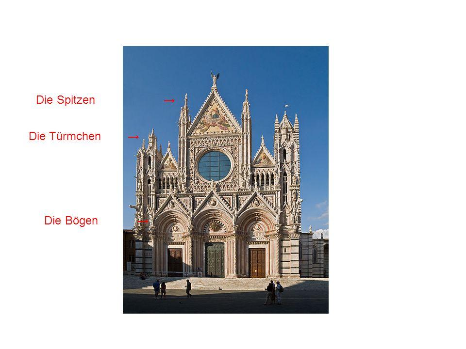 Die Kanzel in der Kirche S.Andrea-Pistoia (1297-1301) Sie ist änlich wie die Kanzel des Doms von Siena Struktur: hat eine sechseckige Form, steht auf sieben Säulen, die zentrale Säule liegt auf drei Greifen Ikonographie: Allegorien in den Bogen,die Szenen sind überfüllt