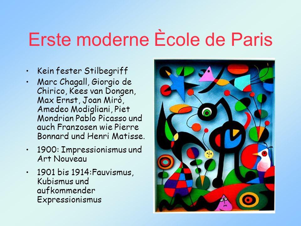 Erste moderne Ècole de Paris Kein fester Stilbegriff Marc Chagall, Giorgio de Chirico, Kees van Dongen, Max Ernst, Joan Mirò, Amedeo Modigliani, Piet