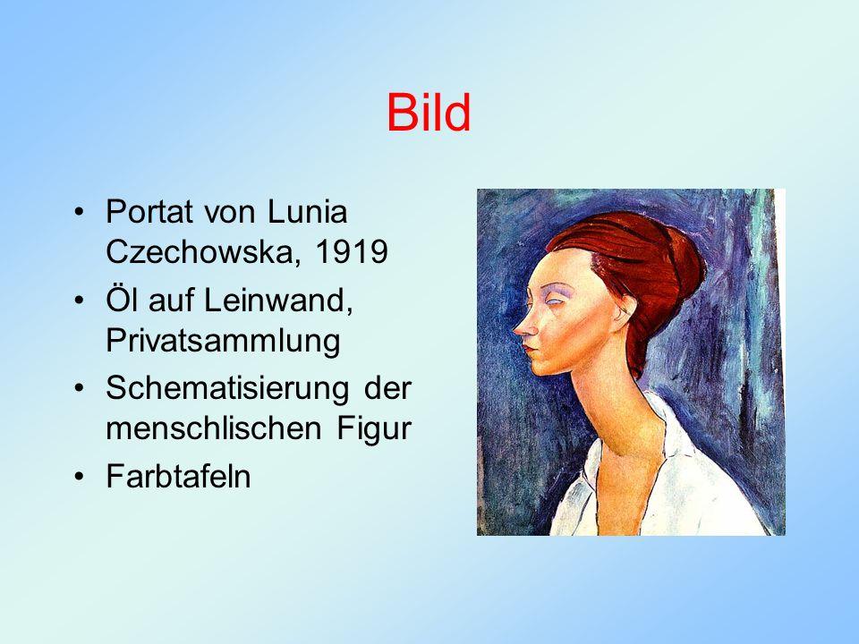 Bild Portat von Lunia Czechowska, 1919 Öl auf Leinwand, Privatsammlung Schematisierung der menschlischen Figur Farbtafeln