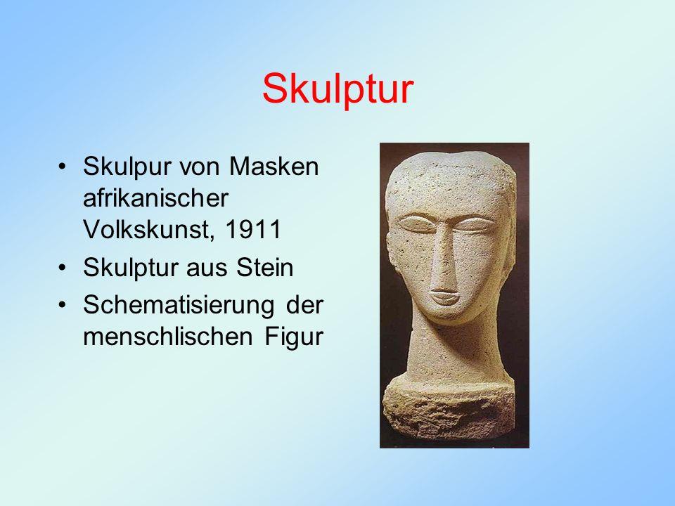 Skulptur Skulpur von Masken afrikanischer Volkskunst, 1911 Skulptur aus Stein Schematisierung der menschlischen Figur