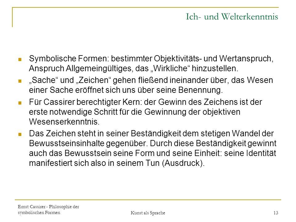Ernst Cassirer - Philosophie der symbolischen Formen Kunst als Sprache 13 Ich- und Welterkenntnis Symbolische Formen: bestimmter Objektivitäts- und Wertanspruch, Anspruch Allgemeingültiges, das Wirkliche hinzustellen.