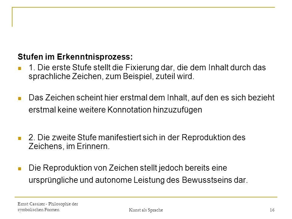 Ernst Cassirer - Philosophie der symbolischen Formen Kunst als Sprache 16 Stufen im Erkenntnisprozess: 1.