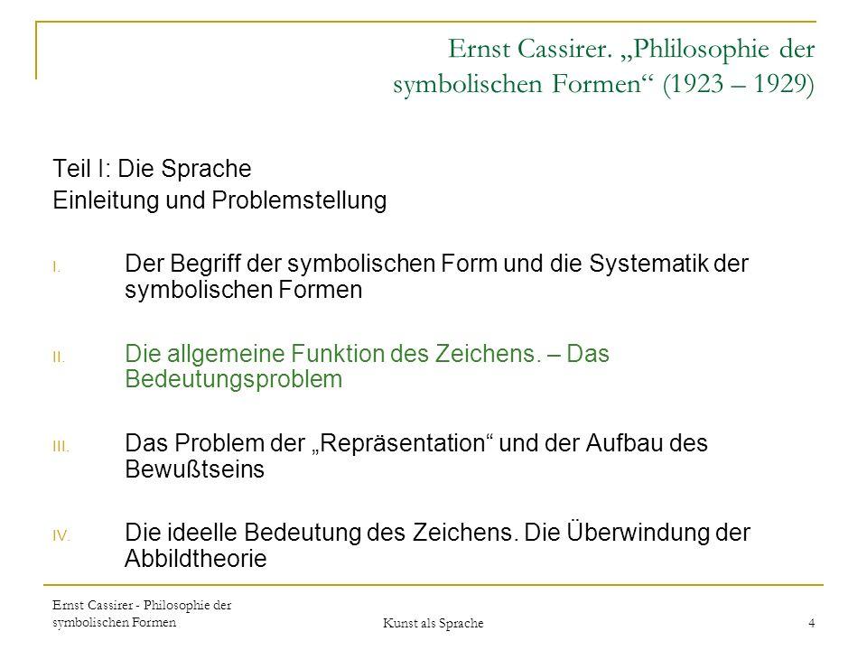 Ernst Cassirer - Philosophie der symbolischen Formen Kunst als Sprache 4 Ernst Cassirer.
