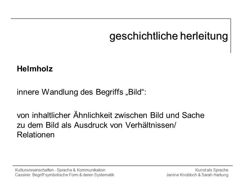 Kulturwissenschaften - Sprache & Kommunikation Kunst als Sprache Cassirer: Begriff symbolische Form & deren Systematik Janine Knobloch & Sarah Hartung