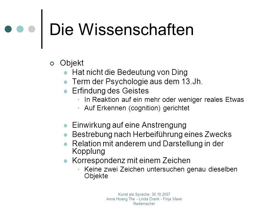 Kunst als Sprache: 30.10.2007 Anna Hoang The - Linda Drenk - Finja Marei Rademacher Die Wissenschaften Objekt Hat nicht die Bedeutung von Ding Term der Psychologie aus dem 13.Jh.