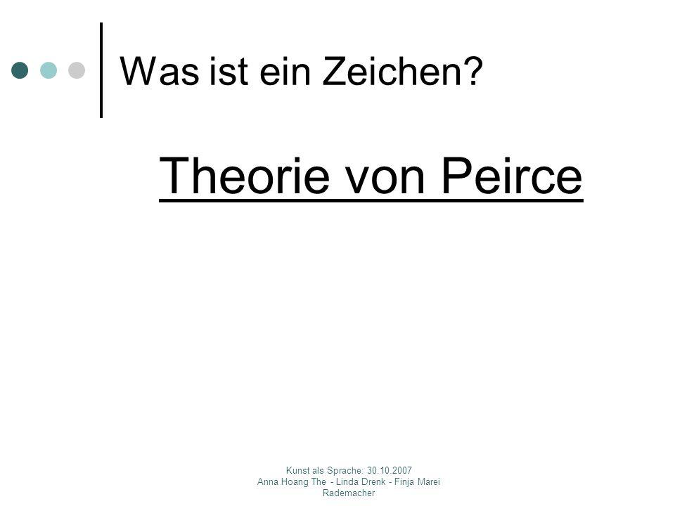 Kunst als Sprache: 30.10.2007 Anna Hoang The - Linda Drenk - Finja Marei Rademacher Was ist ein Zeichen? Theorie von Peirce