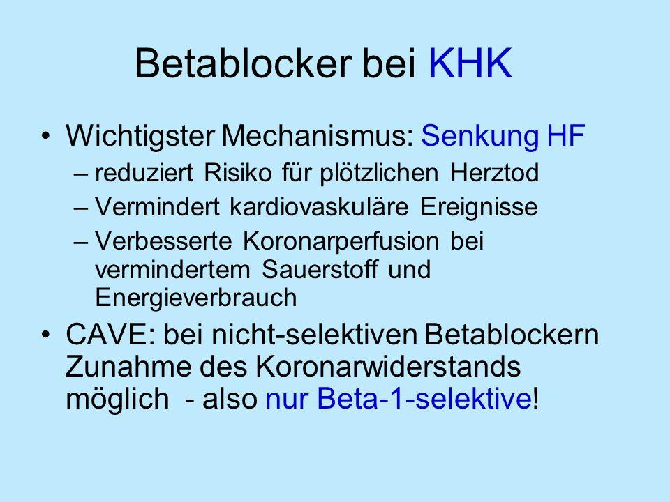 Betablocker bei KHK Wichtigster Mechanismus: Senkung HF –reduziert Risiko für plötzlichen Herztod –Vermindert kardiovaskuläre Ereignisse –Verbesserte Koronarperfusion bei vermindertem Sauerstoff und Energieverbrauch CAVE: bei nicht-selektiven Betablockern Zunahme des Koronarwiderstands möglich - also nur Beta-1-selektive!
