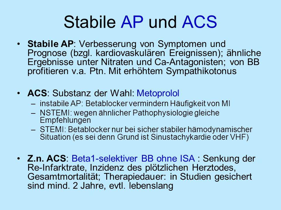 Stabile AP und ACS Stabile AP: Verbesserung von Symptomen und Prognose (bzgl.