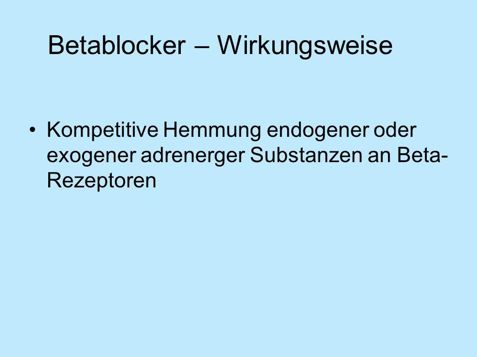 Betablocker – Wirkungsweise Kompetitive Hemmung endogener oder exogener adrenerger Substanzen an Beta- Rezeptoren