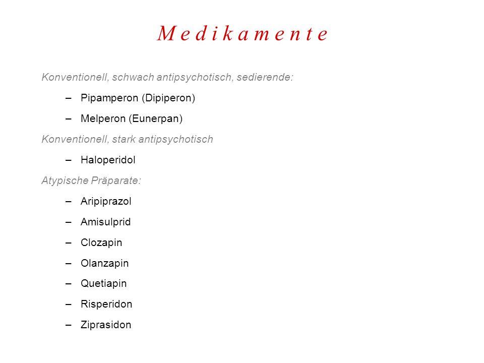 M e d i k a m e n t e Konventionell, schwach antipsychotisch, sedierende: –Pipamperon (Dipiperon) –Melperon (Eunerpan) Konventionell, stark antipsychotisch –Haloperidol Atypische Präparate: –Aripiprazol –Amisulprid –Clozapin –Olanzapin –Quetiapin –Risperidon –Ziprasidon