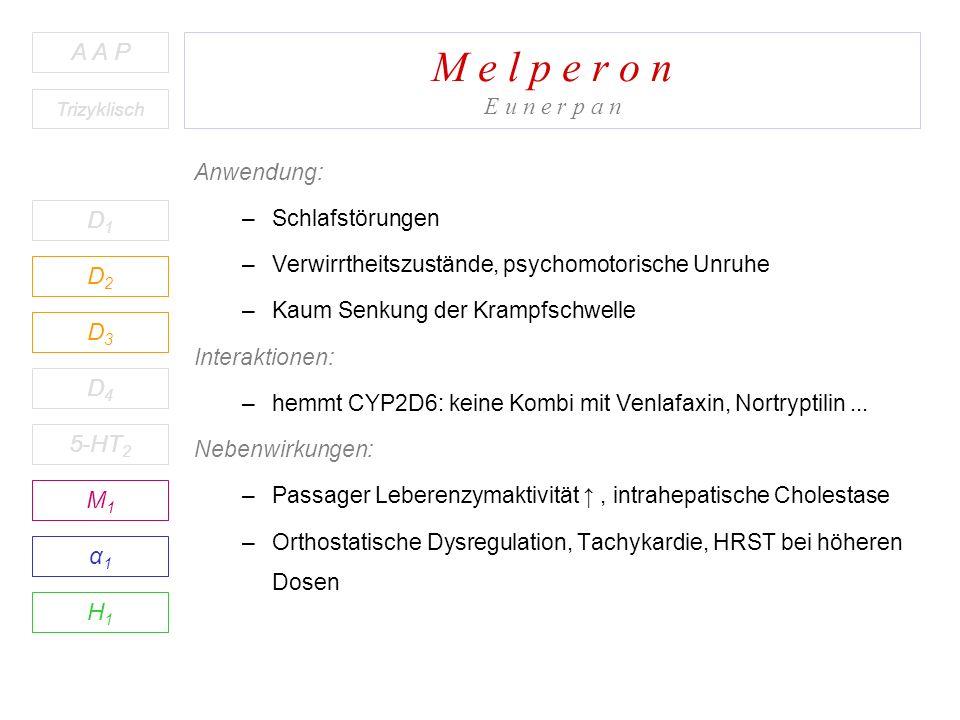 M e l p e r o n E u n e r p a n D1D1 A A P D2D2 D3D3 D4D4 5-HT 2 M1M1 H1H1 α1α1 Trizyklisch Anwendung: –Schlafstörungen –Verwirrtheitszustände, psychomotorische Unruhe –Kaum Senkung der Krampfschwelle Interaktionen: –hemmt CYP2D6: keine Kombi mit Venlafaxin, Nortryptilin...