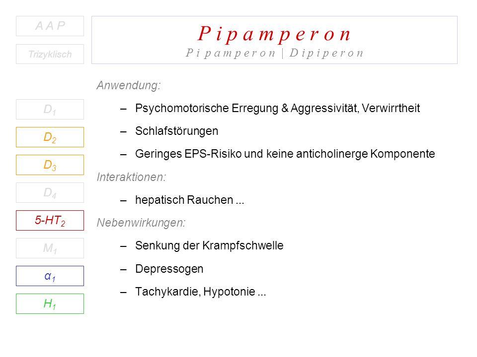 P i p a m p e r o n P i p a m p e r o n | D i p i p e r o n D1D1 A A P D2D2 D3D3 D4D4 5-HT 2 M1M1 H1H1 α1α1 Trizyklisch Anwendung: –Psychomotorische Erregung & Aggressivität, Verwirrtheit –Schlafstörungen –Geringes EPS-Risiko und keine anticholinerge Komponente Interaktionen: –hepatisch Rauchen...