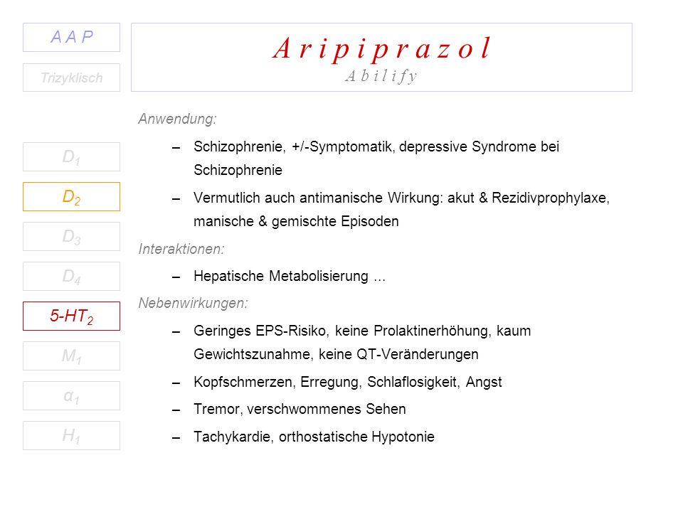 A r i p i p r a z o l A b i l i f y D1D1 A A P D2D2 D3D3 D4D4 5-HT 2 M1M1 H1H1 α1α1 Trizyklisch Anwendung: –Schizophrenie, +/-Symptomatik, depressive Syndrome bei Schizophrenie –Vermutlich auch antimanische Wirkung: akut & Rezidivprophylaxe, manische & gemischte Episoden Interaktionen: –Hepatische Metabolisierung...