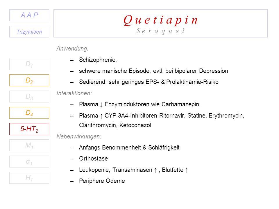 Q u e t i a p i n S e r o q u e l Anwendung: –Schizophrenie, –schwere manische Episode, evtl. bei bipolarer Depression –Sedierend, sehr geringes EPS-