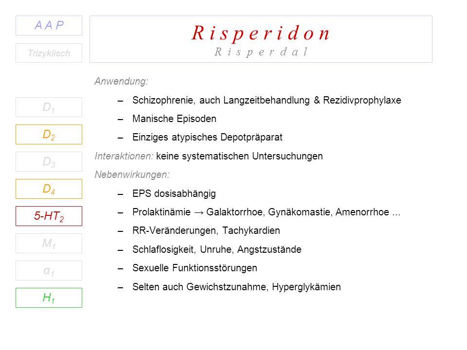 R i s p e r i d o n R i s p e r d a l D1D1 A A P D2D2 D3D3 D4D4 5-HT 2 M1M1 H1H1 α1α1 Trizyklisch Anwendung: –Schizophrenie, auch Langzeitbehandlung & Rezidivprophylaxe –Manische Episoden –Einziges atypisches Depotpräparat Interaktionen: keine systematischen Untersuchungen Nebenwirkungen: –EPS dosisabhängig –Prolaktinämie Galaktorrhoe, Gynäkomastie, Amenorrhoe...