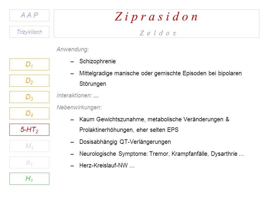 Z i p r a s i d o n Z e l d o x D1D1 A A P D2D2 D3D3 D4D4 5-HT 2 M1M1 H1H1 α1α1 Anwendung: –Schizophrenie –Mittelgradige manische oder gemischte Episoden bei bipolaren Störungen Interaktionen:...