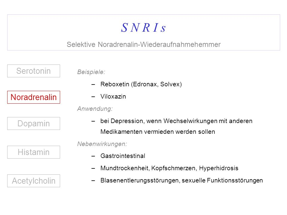 S N R I s Selektive Noradrenalin-Wiederaufnahmehemmer Beispiele: –Reboxetin (Edronax, Solvex) –Viloxazin Anwendung: –bei Depression, wenn Wechselwirku