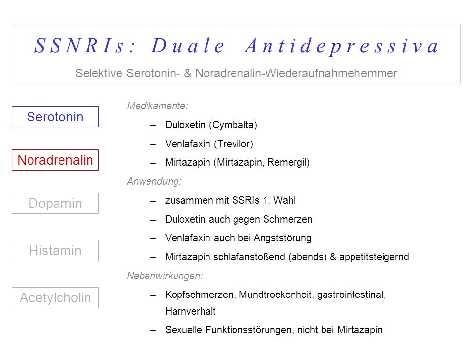 S S N R I s : D u a l e A n t i d e p r e s s i v a Selektive Serotonin- & Noradrenalin-Wiederaufnahmehemmer Medikamente: –Duloxetin (Cymbalta) –Venla