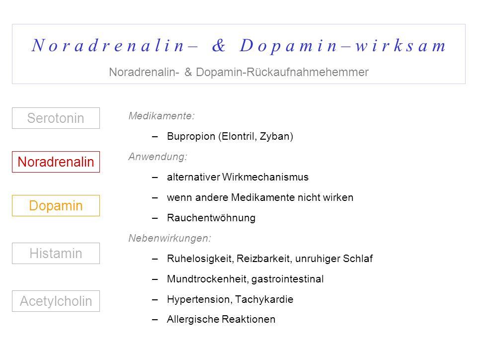 N o r a d r e n a l i n – & D o p a m i n – w i r k s a m Noradrenalin- & Dopamin-Rückaufnahmehemmer Medikamente: –Bupropion (Elontril, Zyban) Anwendu