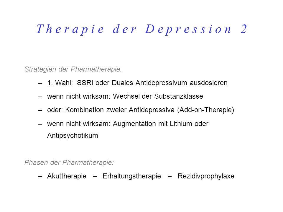 T h e r a p i e d e r D e p r e s s i o n 2 Strategien der Pharmatherapie: –1. Wahl: SSRI oder Duales Antidepressivum ausdosieren –wenn nicht wirksam: