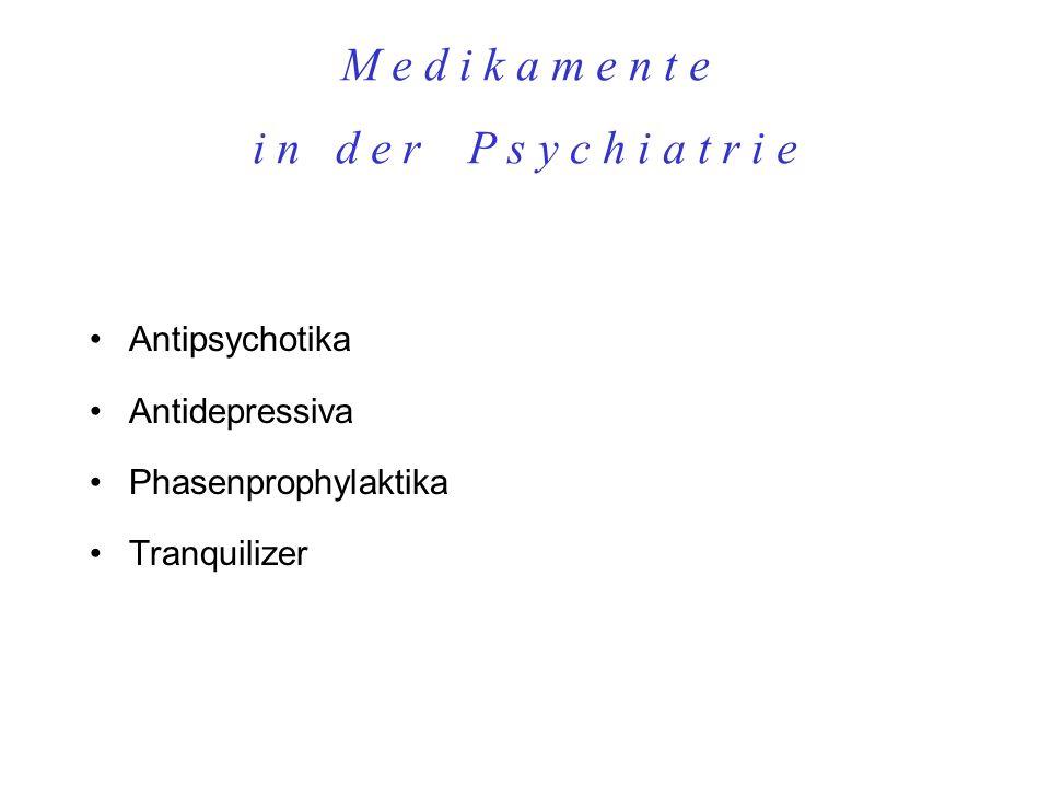 M e d i k a m e n t e i n d e r P s y c h i a t r i e Antipsychotika Antidepressiva Phasenprophylaktika Tranquilizer...