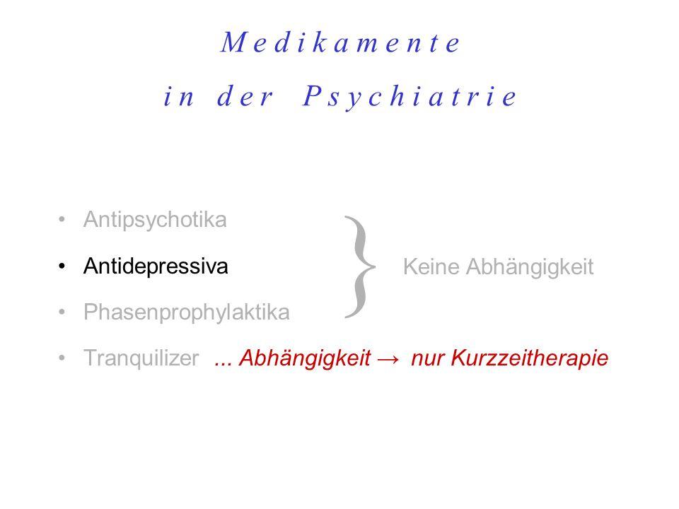 M e d i k a m e n t e i n d e r P s y c h i a t r i e Antipsychotika Antidepressiva Phasenprophylaktika Tranquilizer... Abhängigkeit nur Kurzzeitherap