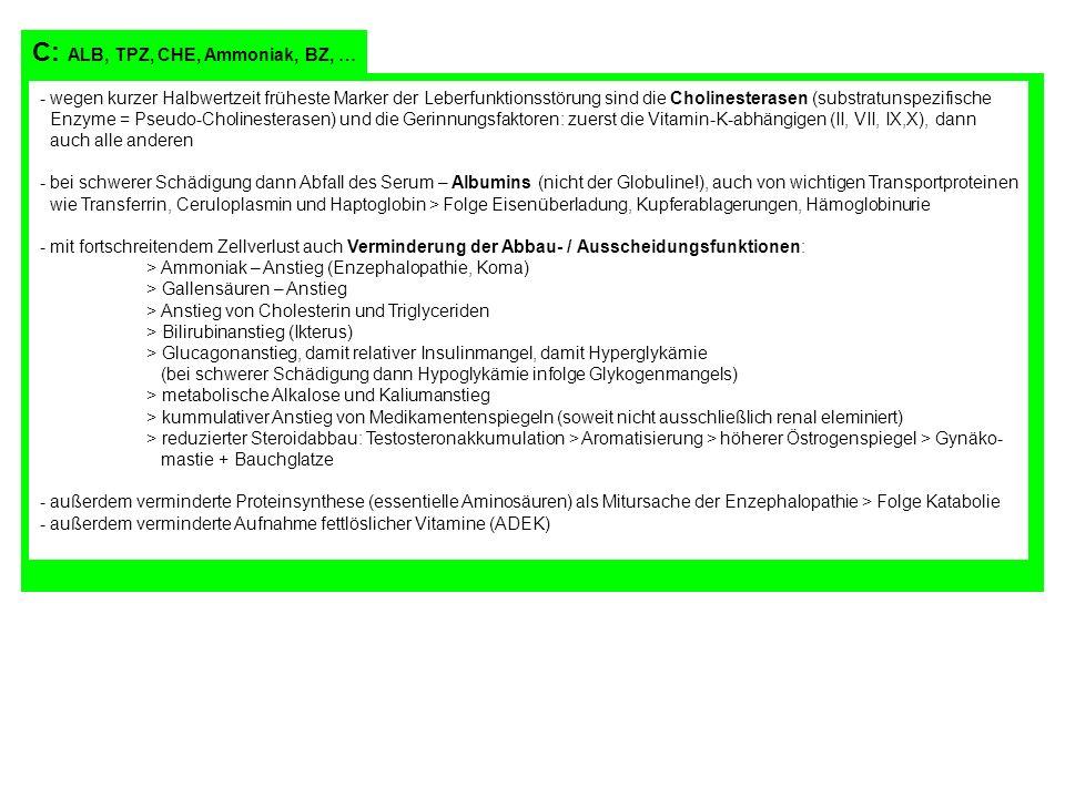 C: ALB, TPZ, CHE, Ammoniak, BZ, … - wegen kurzer Halbwertzeit früheste Marker der Leberfunktionsstörung sind die Cholinesterasen (substratunspezifisch
