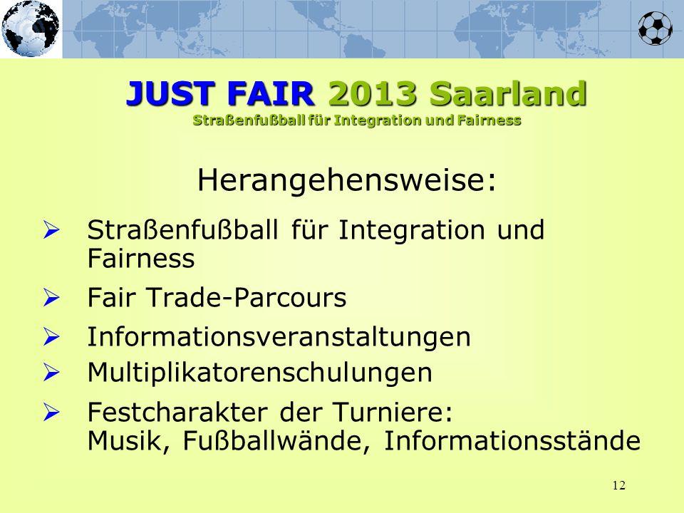 12 Herangehensweise: Straßenfußball für Integration und Fairness Fair Trade-Parcours Informationsveranstaltungen Multiplikatorenschulungen Festcharakt