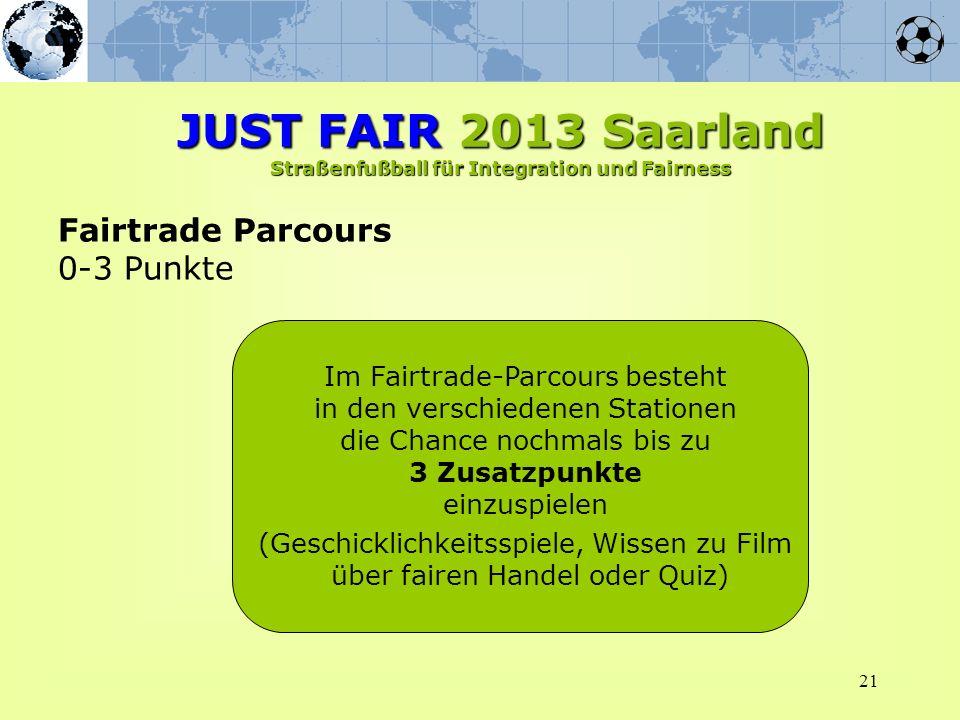 21 Fairtrade Parcours 0-3 Punkte Im Fairtrade-Parcours besteht in den verschiedenen Stationen die Chance nochmals bis zu 3 Zusatzpunkte einzuspielen (