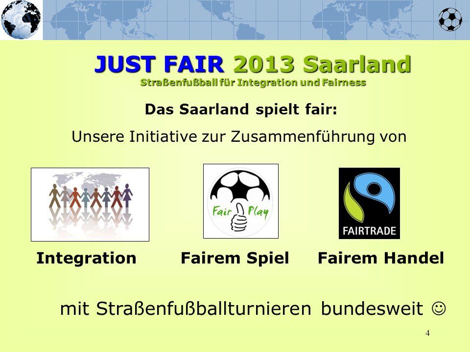 4 Das Saarland spielt fair: Unsere Initiative zur Zusammenführung von IntegrationFairem SpielFairem Handel mit Straßenfußballturnieren bundesweit JUST