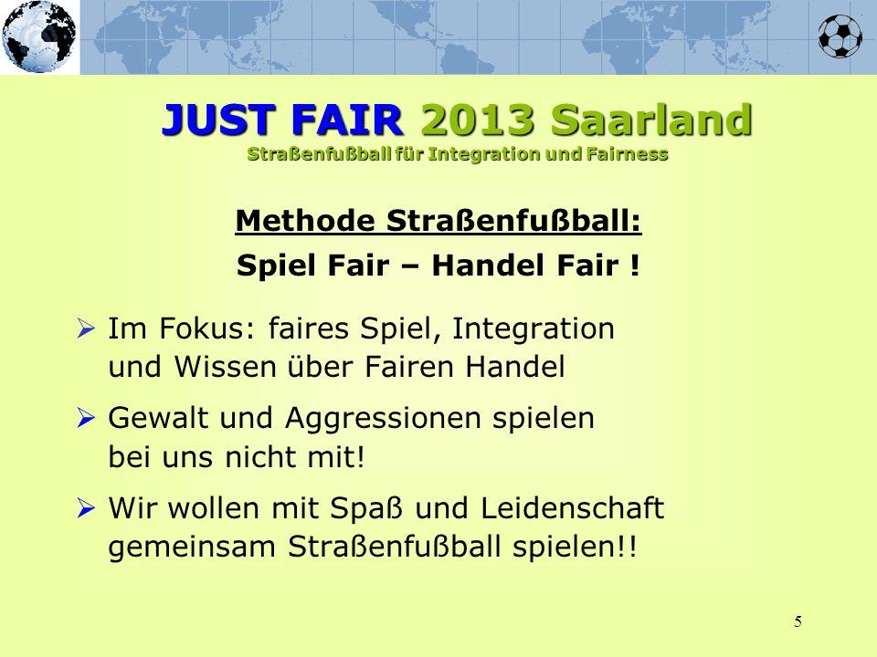 5 Methode Straßenfußball: Spiel Fair – Handel Fair ! Im Fokus: faires Spiel, Integration und Wissen über Fairen Handel Gewalt und Aggressionen spielen