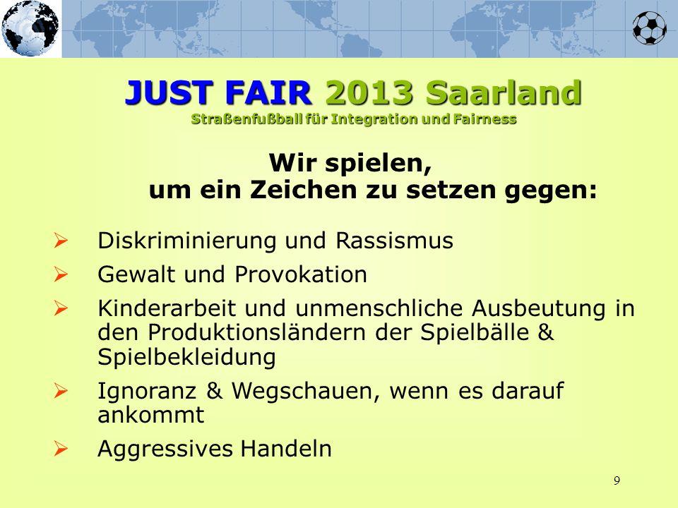 9 Wir spielen, um ein Zeichen zu setzen gegen: JUST FAIR 2013 Saarland Straßenfußball für Integration und Fairness Diskriminierung und Rassismus Gewal