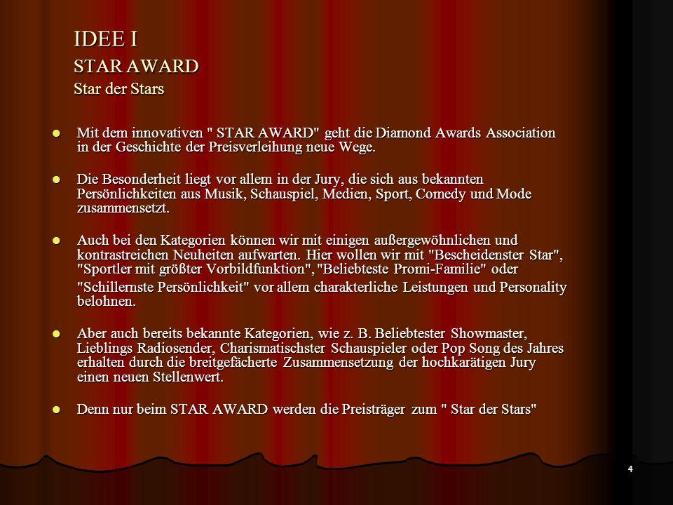 4 IDEE I STAR AWARD Star der Stars Mit dem innovativen STAR AWARD geht die Diamond Awards Association in der Geschichte der Preisverleihung neue Wege.